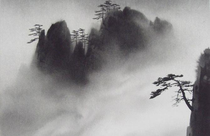 崖と松の水墨画