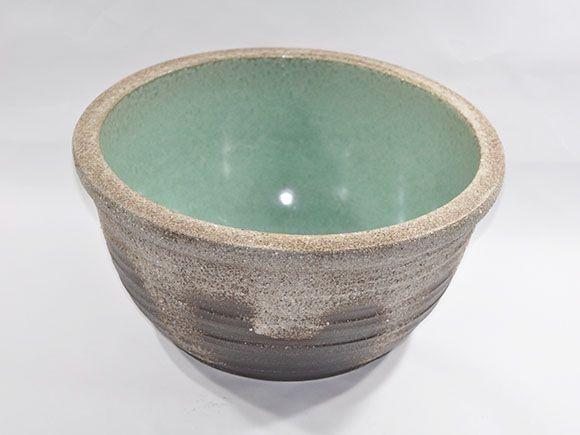 灰釉ひねり水鉢 13号