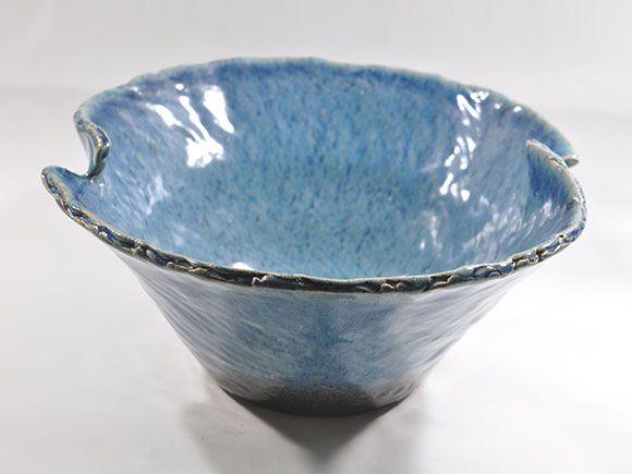 ブルーガラスひねり水鉢 13号
