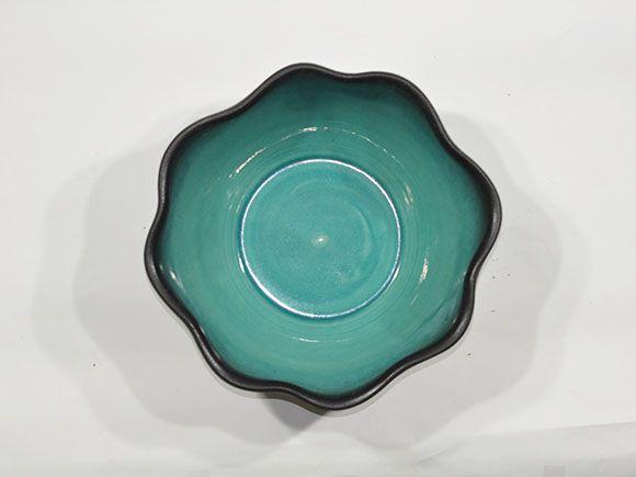 緑釉はけ目水鉢 12号