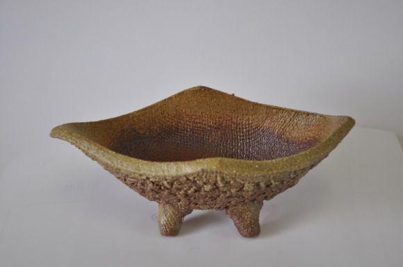 信楽焼 盆栽山野草鉢  舟形 イラボ