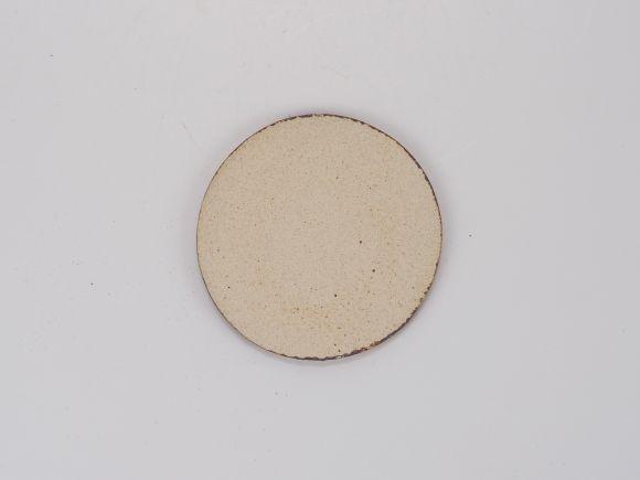 万古焼 茶 3号 丸陶板 幅9.6cm×0.5cm