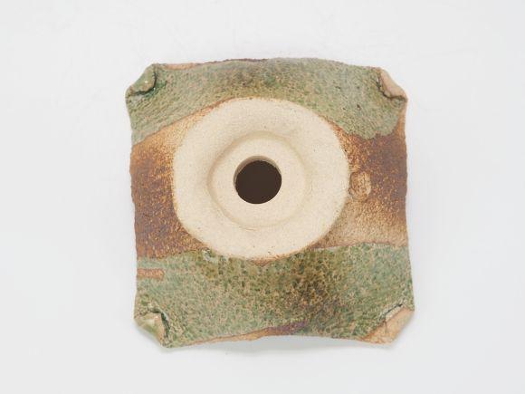 万古焼 茶オリベ 5号 正角台付 幅15cm×高さ8cm