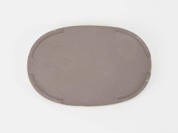 万古焼 小判水石 クリーム 6号 幅18.5cm×奥行12.2cm×高さ2cm