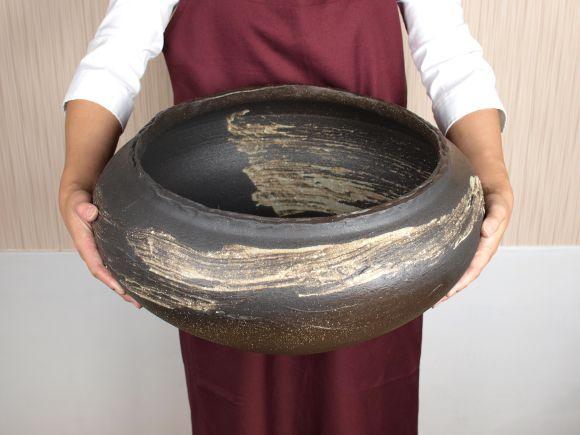 睡蓮鉢 めだか鉢 刷毛目水鉢 16号サイズ