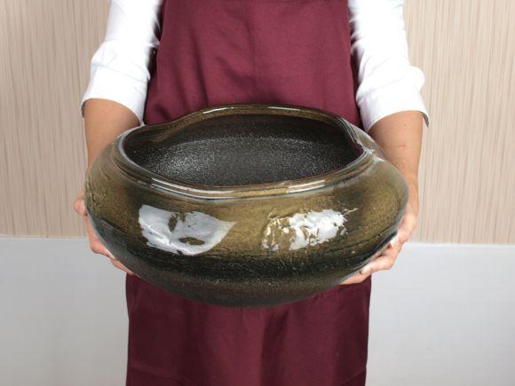 睡蓮鉢 めだか鉢 黒ビードロ水鉢 13号サイズ