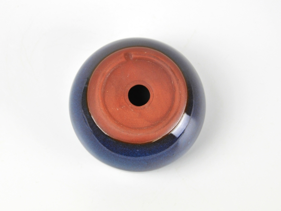 万古焼 トルコブルー 3.5号 幅10.8cm×高さ6.8cm