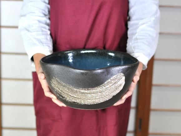 【睡蓮鉢 めだか鉢】信楽焼 青釉はけ目めだか鉢 花型 10号サイズ 幅29cm×14cm