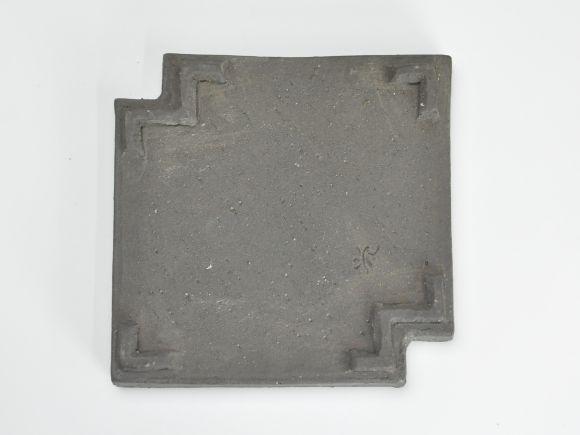 作家鉢 ビードロ釉角欠け黒皿 伊藤光伸作 幅16.2cm×高さ2.7cm