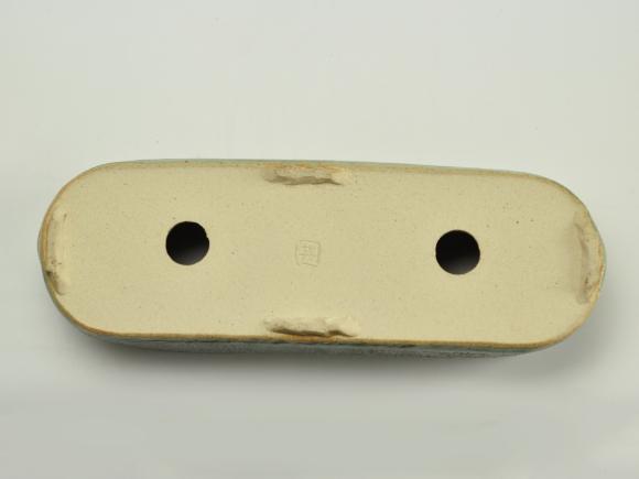 小判切立鉢9号 オリベ【受け皿付き】鉢幅25cm×奥行8.5cm×高さ7cm