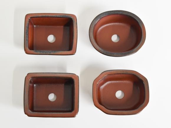 朱泥窯変3.5号 4点セット 鉢幅約10cm×奥行約8cm×高さ約5cm