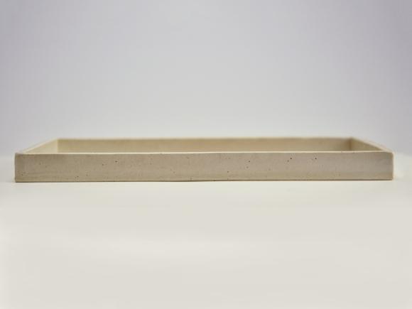 白 長角手造り水石 8号 幅約24cm×奥行約18cm×高さ約2〜3cm