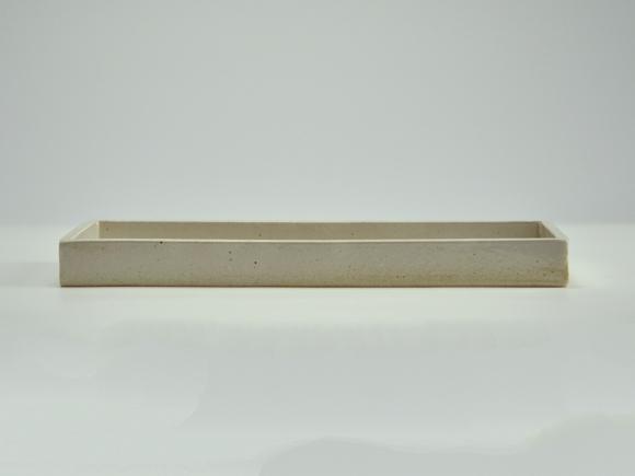 白 長角手造り水石 9号 幅約27cm×奥行約12cm×高さ約2〜3cm