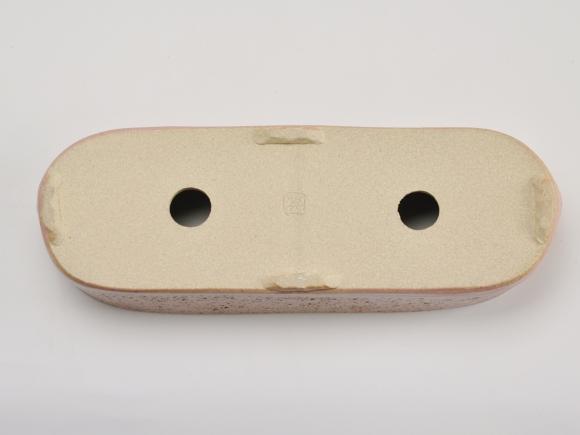 小判切立鉢9号 ピンク【受け皿付き】鉢幅25cm×奥行8.5cm×高さ7cm